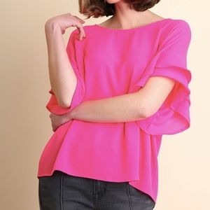 Adelphi Blouse in Hot Pink